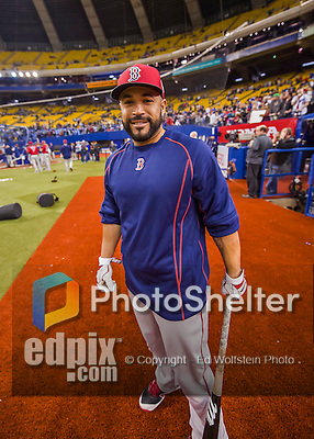 2 April 2016: Boston Red Sox catcher Sandy Leon awaits his turn in the batting cage prior to an exhibition game against the Toronto Blue Jays at Olympic Stadium in Montreal, Quebec, Canada. The Red Sox defeated the Blue Jays 7-4 in the second of two MLB weekend games, which saw a two-game series attendance of 106,102 at the former home on the Montreal Expos. Mandatory Credit: Ed Wolfstein Photo *** RAW (NEF) Image File Available ***