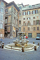 Italy: Rome--A quiet court near the Tiber. Fontana Delle Tartarughe by Taddeo Landini and Jacopo Della Porta. 1585. Photo '82.
