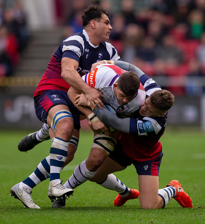 Leicester Tigers' Mike Williams is tackled by Bristol Bears' George Smith and Bristol Bears' Ian Madigan<br /> <br /> Photographer Bob Bradford/CameraSport<br /> <br /> Gallagher Premiership - Bristol Bears v Leicester Tigers - Saturday 1st December 2018 - Ashton Gate - Bristol<br /> <br /> World Copyright &copy; 2018 CameraSport. All rights reserved. 43 Linden Ave. Countesthorpe. Leicester. England. LE8 5PG - Tel: +44 (0) 116 277 4147 - admin@camerasport.com - www.camerasport.com