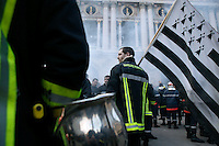 25 March 2004 - Paris, FRA - Firefighters march through Paris, France, 25 March 2004, to demand that their profession be classified as a dangerous occupation which entails various social security benefits including early retirement. The protest ended in a violent stand-off with the riot police near the Paris Opera house which left 2 firefighters and 20 policemen injured.