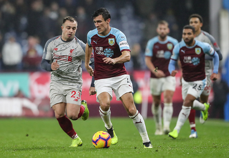 Burnley's Jack Cork competing with Liverpool's Xherdan Shaqiri<br /> <br /> Photographer Andrew Kearns/CameraSport<br /> <br /> The Premier League - Burnley v Liverpool - Wednesday 5th December 2018 - Turf Moor - Burnley<br /> <br /> World Copyright &copy; 2018 CameraSport. All rights reserved. 43 Linden Ave. Countesthorpe. Leicester. England. LE8 5PG - Tel: +44 (0) 116 277 4147 - admin@camerasport.com - www.camerasport.com