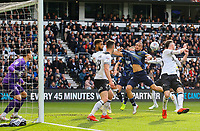Leeds United's Kemar Roofe battles with Derby County's Jayden Bogle<br /> <br /> Photographer Alex Dodd/CameraSport<br /> <br /> The EFL Sky Bet Championship Play-off  First Leg - Derby County v Leeds United - Thursday 9th May 2019 - Pride Park - Derby<br /> <br /> World Copyright © 2019 CameraSport. All rights reserved. 43 Linden Ave. Countesthorpe. Leicester. England. LE8 5PG - Tel: +44 (0) 116 277 4147 - admin@camerasport.com - www.camerasport.com