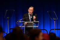 "Washington, DC - April 15, 2016: UN Secretary General Ban Ki-moon participates in the ""Forced Displacement: A Global Development Challenge"" discussion at the World Bank Group MC building in the District of Columbia during the IMF/World Bank Spring Meetings, April 15, 2016.  (Photo by Don Baxter/Media Images International)"