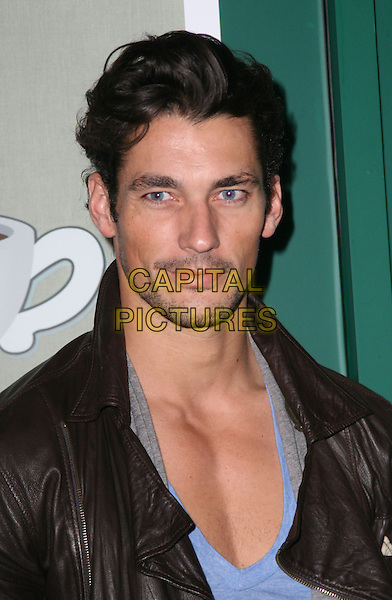 DAVID GANDY .Attending the Central Perk Launch Party, Carnaby Street, London, England, UK,.September 23rd 2009..portrait headshot black leather jacket facial hair goatee v-neck chest blue .CAP/JIL.©Jill Mayhew/Capital Pictures