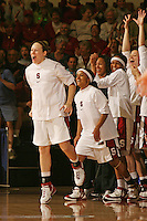 17 March 2007: Clare Bodensteiner, Markisha Coleman, Melanie Murphy, Rosalyn Gold-Onwude and Christal Titchenal celebrate during Stanford's 96-58 win over Idaho State in the first round of the NCAA women's basketball tournament at Maples Pavilion in Stanford, CA.