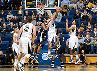 Richard Solomon of California rebounds the ball during the game against UC Irvine at Haas Pavilion in Berkeley, California on November 11th, 2011.  California defeated UC Irvine, 77-56.