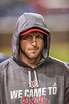 13 October 2016: Washington Nationals starting pitcher Max Scherzer in the dugout during Game 5 of the NLDS against the Los Angeles Dodgers at Nationals Park in Washington, DC. The Dodgers edged out the Nationals 4-3, to take Game 5 of the Series, 3 games to 2, and move on to the National League Championship Series against the Chicago Cubs. Mandatory Credit: Ed Wolfstein Photo *** RAW (NEF) Image File Available ***
