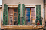 Balcony windows and shutters, village of Llucmajor, Mallorca