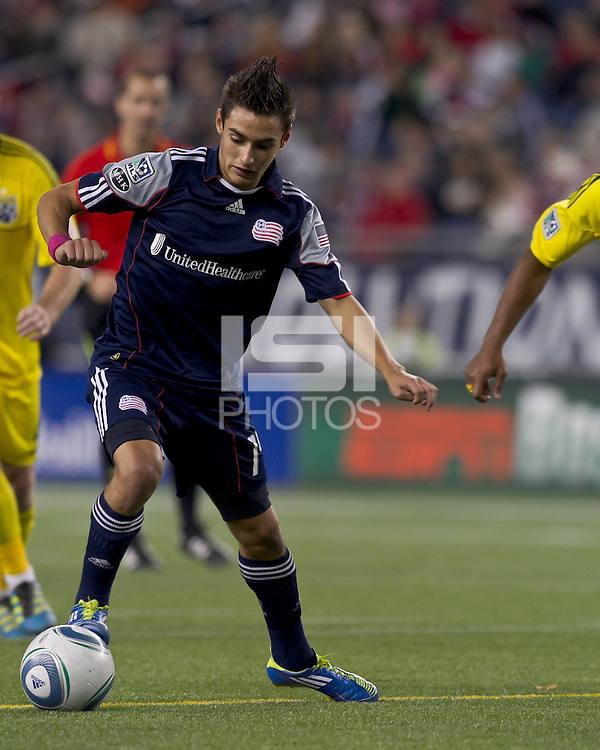 New England Revolution forward Diego Fagundez (14) controls the ball. In a Major League Soccer (MLS) match, the Columbus Crew defeated the New England Revolution, 3-0, at Gillette Stadium on October 15, 2011.