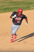 Peoria Chiefs outfielder Magneuris Sierra (19) heads towards third during a game against the Wisconsin Timber Rattlers on April 12th, 2015 at Fox Cities Stadium in Appleton, Wisconsin.  Peoria defeated Wisconsin 11-1.  (Brad Krause/Four Seam Images)