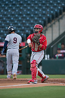 AZL Angels catcher Willian Mendoza (3) throws the ball around after a strikeout during an Arizona League game against the AZL Indians 2 at Tempe Diablo Stadium on June 30, 2018 in Tempe, Arizona. The AZL Indians 2 defeated the AZL Angels by a score of 13-8. (Zachary Lucy/Four Seam Images)