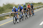 The breakaway group featuring three Gazprom-Rusvelo riders Igor Boev, Artem Nych and Stepan Kurianov (RUS), Will Clarke (AUS) Trek-Segafredo, Alessandro De Marchi (ITA) CCC Team and Charles Planet (FRA) Team Novo-Nordisk during Stage 4 of the 2019 UAE Tour, running 197km form The Pointe Palm Jumeirah to Hatta Dam, Dubai, United Arab Emirates. 26th February 2019.<br /> Picture: LaPresse/Fabio Ferrari | Cyclefile<br /> <br /> <br /> All photos usage must carry mandatory copyright credit (© Cyclefile | LaPresse/Fabio Ferrari)