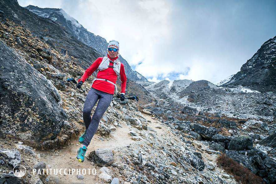 Running down the Kongma La pass while trail running the Khumbu Valley's 3 Passes Tour, Nepal.
