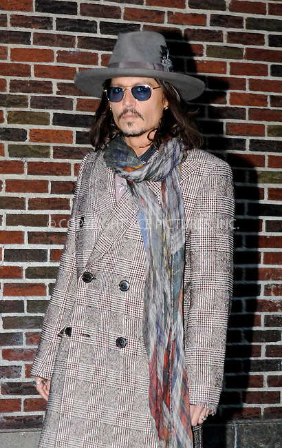 WWW.ACEPIXS.COM....February 21 2013, New York City....Actor Johnny Depp made an appearance at 'The Late Show with David Letterman' on February 21 2013 in New York City......By Line: Nancy Rivera/ACE Pictures......ACE Pictures, Inc...tel: 646 769 0430..Email: info@acepixs.com..www.acepixs.com