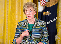 Administrator of the Small Business Administration (SBA) Linda McMahon speaks following United States President Donald J. Trump's remarks at an event with small businesses in the East Room of the White House in Washington, DC on Tuesday, August 1, 2017. Photo Credit: Ron Sachs/CNP/AdMedia