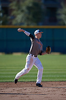 Bobby Witt Jr. (9) of Colleyville Heritage High School in Colleyville, Texas during the Baseball Factory All-America Pre-Season Tournament, powered by Under Armour, on January 13, 2018 at Sloan Park Complex in Mesa, Arizona.  (Mike Janes/Four Seam Images)