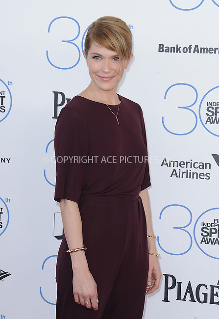 WWW.ACEPIXS.COM<br /> <br /> February 21 2015, LA<br /> <br /> Katie Aselton arriving at the 2015 Film Independent Spirit Awards at Santa Monica Beach on February 21, 2015 in Santa Monica, California.<br /> <br /> By Line: Peter West/ACE Pictures<br /> <br /> <br /> ACE Pictures, Inc.<br /> tel: 646 769 0430<br /> Email: info@acepixs.com<br /> www.acepixs.com