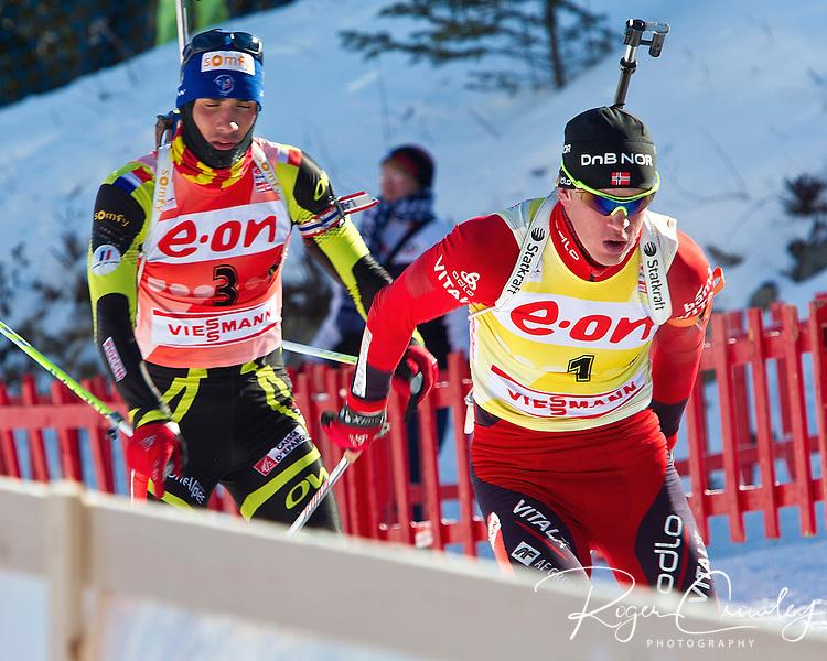 E.ON IBU World Cup Biathlon at the 10th Mountain Ski Center in Fort Kent Maine February 13, 2011.  Men's Mass Start winners were Martin Fourcade (France), Tomasz Sikora (Poland), Tarjei Boe (Norway). USA finisher Lowell Baley (9th),.