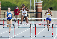 NWA Democrat-Gazette/BEN GOFF @NWABENGOFF<br /> J'Alyiea Smith of Arkansas runs in the women's 400 meter hudles Friday, April 12, 2019, at the John McDonnell Invitational at John McDonnell field in Fayetteville.