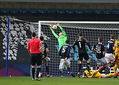 17th March 2019, The Den, London, England; The Emirates FA Cup, quarter final, Millwall versus Brighton and Hove Albion; Goalkeeper David Martin of Millwall mis-handles catching the shot from Solly March of Brighton & Hove Albion goal from a free kick in extra time in to make it 2-2 in the 94th minute