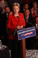 Democratic presidential candidate Hillary Clinton addresses supporters during a primary election night rally, March 4, 2008, at the Columbus Atheneum, Columbus, Ohio. On this night, Clinton defeated rival Barack Obama to win primaries in Ohio, Texas, and Rhode Island, while Obama won in Vermont. (Kevin Craiglow/PressPhotoIntl.com)