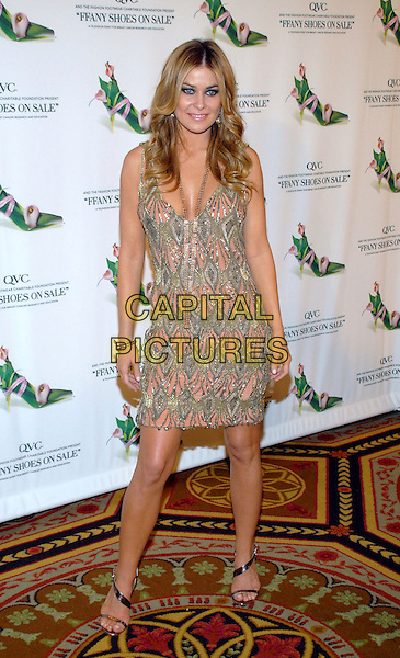 "CARMEN ELECTRA.13th Annual QVC/FFANY ""Shoes on Sale"" Gala at the Waldorf Astoria, New York, NY, USA..October 18th, 2006.Ref: ADM/PH.full length pink green grey gray pattern dress.www.capitalpictures.com.sales@capitalpictures.com.©AdMedia/Capital Pictures. *** Local Caption ***"