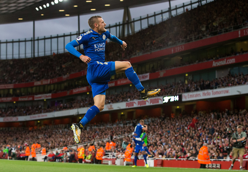 Leicester City's Jamie Vardy celebrates scoring his sides second goal <br /> <br /> Photographer Craig Mercer/CameraSport<br /> <br /> The Premier League - Arsenal v Leicester City - Friday 11th August 2017 - Emirates Stadium - London<br /> <br /> World Copyright &copy; 2017 CameraSport. All rights reserved. 43 Linden Ave. Countesthorpe. Leicester. England. LE8 5PG - Tel: +44 (0) 116 277 4147 - admin@camerasport.com - www.camerasport.com
