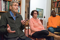 "Merritt Harrison (left), of Cambridge, Mass., speaks during a support group for people who have had electroconvulsive therapy (ECT) led by former Massachusetts governor Michael Dukakis and his wife Kitty Dukakis in their home in Brookline, Massachusetts, USA, on Sun., Dec. 4, 2016. Harrison's wife Kate MacDonald (not pictured) has had ECT and Harrison came to the support group to offer support to his wife. Kitty Dukakis used ECT to treat depression and substance abuse issues. She continues to have ECT treatments about once every seven or eight weeks. Also pictured here are Barrie Baker (center) and her husband Jimmie Baker, Jr., of Waltham, Mass. It was the couple's first time attending the support group. A family practitioner, Barrie Baker said during the meeting that ""ECT saved my life twice."""