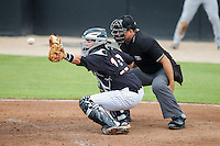 Kannapolis Intimidators catcher Brett Austin (10) reaches for a high pitch as home plate umpire Zach Tieche looks on during the game against the ds\ at CMC-NorthEast Stadium on July 3, 2014 in Kannapolis, North Carolina.  The Shorebirds defeated the Intimidators 6-5. (Brian Westerholt/Four Seam Images)