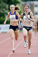18 MAY 2008 - LOUGHBOROUGH, UK - Lisa Dobriskey watches as Susan Scott beats her to the finish line - 1500m - Loughborough International Athletics. (PHOTO (C) NIGEL FARROW)