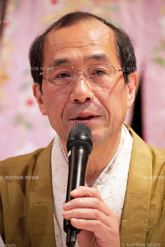 """April 24, 2013, Tokyo, Japan - The Mayor of Kyoto, Daisaku Kadokawa at """"Kyoto international Manga Anime Fair 2013"""" press conference in Kabukiza Tower, Tokyo. In the press conference the organizers of KYOMAF, Mayor of Kyoto and Japan EXPO (in France) signed a document to collaborate together to promote the anime and manga culture in Europe and United States. The KYOMAF is the largest manga/anime fair in West Japan and will be free entrance for elementary school students and foreigners with passport. It will be held from September 6 to 8 at Miyako Messe, Kyoto. (Photo by Rodrigo Reyes Marin/AFLO).."""