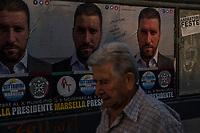 Ostia, 2 Novembre, 2017. Manifesti elettorali del candidato di Casapound Luca Marsella.