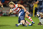 29th September 2017, AJ Bell Stadium, Salford, England; Aviva Premiership Rugby, Sale Sharks versus Gloucester; Gloucester Rugby's Billy Twelvetrees is tackled by SSale Sharks' Cameron Neild