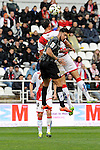 Rayo Vallecano´s Antonio Amaya and Malaga CF´s Samuel Garcia Sanchez during 2014-15 La Liga match between Rayo Vallecano and Malaga CF at Rayo Vallecano stadium in Madrid, Spain. March 21, 2015. (ALTERPHOTOS/Luis Fernandez)