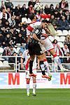 Rayo Vallecano´s Antonio Amaya and Malaga CF´s Samuel Garcia Sanchez during 2014-15 La Liga match between Rayo Vallecano and Malaga CF at Rayo Vallecano stadium in Madrid, Spain. March 21, 2015. (ALTERPHOTOS/Luis Fernandez)