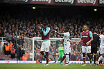 West Ham United 2 Crystal Palace 2, 02/04/2016. Boleyn Ground, Premier League. Home midfielder Cheikhou Kouyate is sent off during the second-half at the Boleyn Ground as West Ham United hosted Crystal Palace in a Barclays Premier League match. The Boleyn Ground at Upton Park was the club's home ground from 1904 until the end of the 2015-16 season when they moved into the Olympic Stadium, built for the 2012 London games, at nearby Stratford. The match ended in a 2-2 draw, watched by a near-capacity crowd of 34,857. Photo by Colin McPherson.