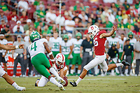 STANFORD, CA - SEPTEMBER 21: Jet Toner #26 of the Stanford Cardinal kicks a field goal during a game between University of Oregon and Stanford Football at Stanford Stadium on September 21, 2019 in Stanford, California.