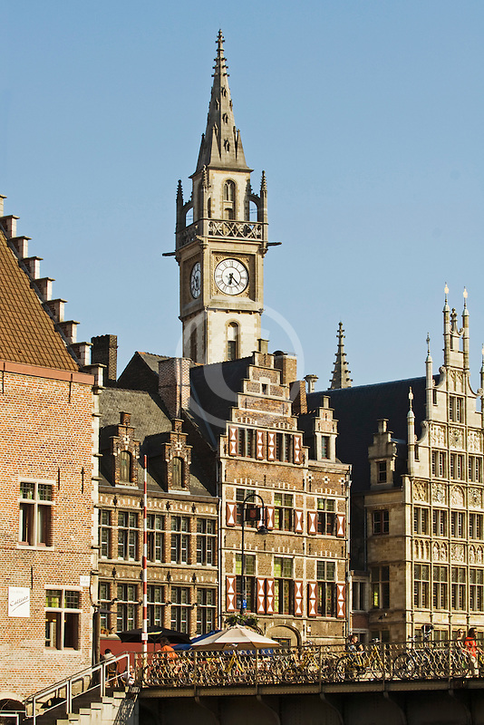 Belgium, Ghent, Gabled Gothic houses and Belfry