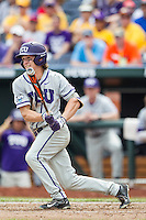 TCU Horned Frogs outfielder Cody Jones (1) follows through on his swing against the LSU Tigers in the NCAA College World Series on June 14, 2015 at TD Ameritrade Park in Omaha, Nebraska. TCU defeated LSU 10-3. (Andrew Woolley/Four Seam Images)