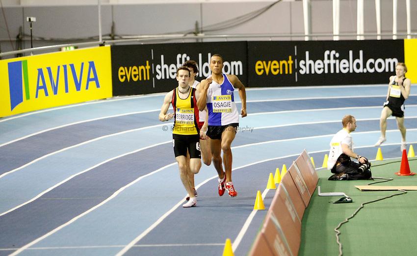 Photo: Richard Lane/Richard Lane Photography. Aviva World Trials & UK Championships. 13/02/2010. Mark Berridgeand  Andrew Osagie in a Men's 800m heat.