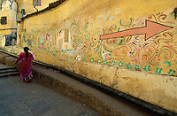 There is this little know old Hindu Temple in central Mumbai, the area is surrounded by highrise buildings and only this colorful wall remains, restoration are on the way to restore the old buildings, outskirts of Mumbai about 2 hours from central Mumbai