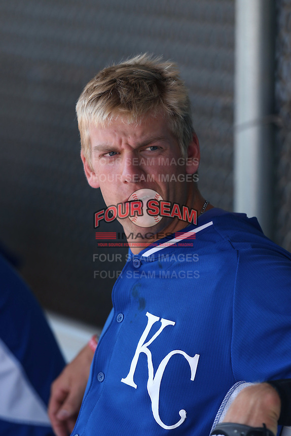 Hunter Dozier #3 of the Kansas City Royals during a Minor League Spring Training Game against the San Diego Padres at the Kansas City Royals Spring Training Complex on March 26, 2014 in Surprise, Arizona. (Larry Goren/Four Seam Images)