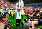 Alex Ferguson lifts the trophy during the Premier League match at The JJB Stadium, Wigan. Picture date 11th May 2008. Picture credit should read: Simon Bellis/Sportimage