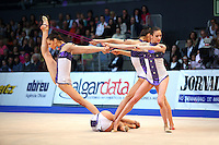Bulgarian senior group begins with ropes + ribbons routine at 2009 World Cup at Portimao, Portugal on April 19, 2009.  (Photo by Tom Theobald).