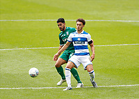 11th July 2020; The Kiyan Prince Foundation Stadium, London, England; English Championship Football, Queen Park Rangers versus Sheffield Wednesday; Massimo Luongo of Sheffield Wednesday challenges Luke Amos of Queens Park Rangers