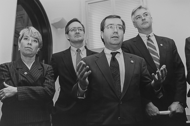 Rep. Deborah Pryce, R-Ohio, Rep. Mike Crapo, R-Idaho, Rep. Ed Royce, R-Calif., and Rep. Jack Quinn, R-N.Y., at a press conference regarding the Line Item Veto, on March 10, 1993. (Photo by Laura Patterson/CQ Roll Call via Getty Images)