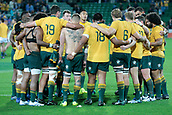 9th September 2017, nib Stadium, Perth, Australia; Supersport Rugby Championship, Australia versus South Africa; The wallabies get togethether after the drawn game against the Springboks