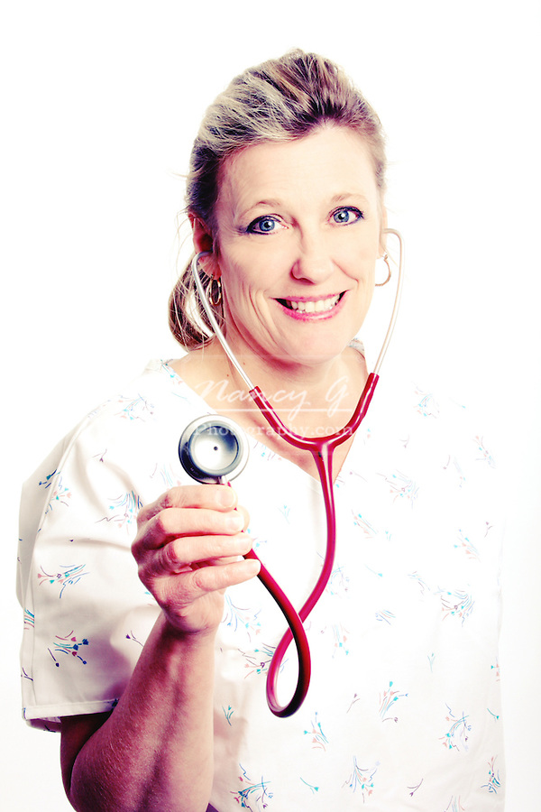 A nurse holding a stethoscope