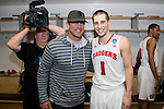 Wisconsin Badgers Ben Brust (1) poses with Green Bay Packers quarterback Aaron Rodgers after  a regional semifinal NCAA college basketball tournament game against the Baylor Bears Thursday, March 27, 2014 in Anaheim, California. The Badgers won 69-52. (Photo by David Stluka)