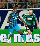 18.08.2011, Keine-Sorgen-Arena, Ried, AUT, UEFA EL, PLAYOFF, SV RIED (AUT) vs PSV EINDHOVEN (NED), Hinspiel, im Bild Georginio Wijnaldum (PSV Eindhoven, #10) vs Anel Hadzic (SV Ried, #20) // during the UEFA Europaleague, 1st Leg Playoff Match, SV Ried against PSV Eindhoven at Keine-Sorgen-Arena, Ried, Austria on 2011-08-18, EXPA Pictures © 2011, PhotoCredit: EXPA/ J. Feichter